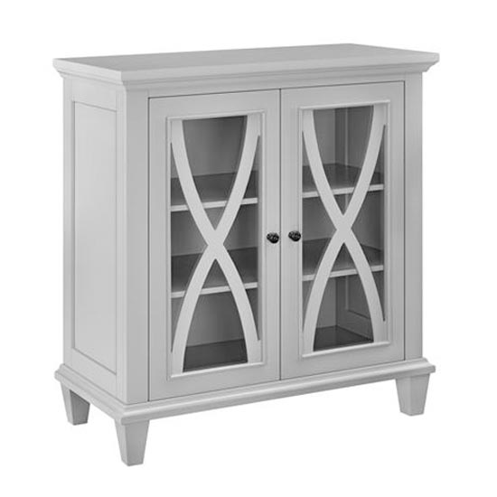 Ellington Wooden Display Cabinet In Grey With 2 Doors_4