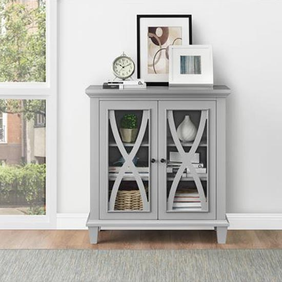 Ellington Wooden Display Cabinet In Grey With 2 Doors_1