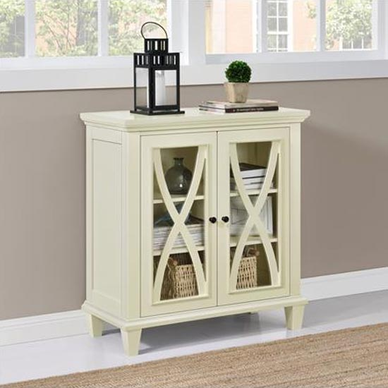 Ellington Wooden Display Cabinet In Ivory With 2 Doors_2