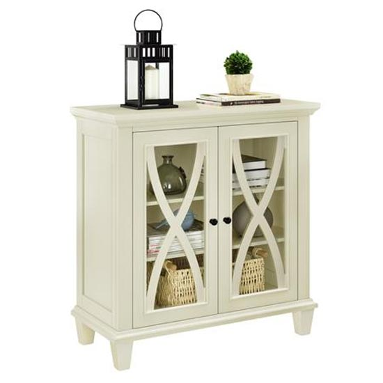 Ellington Wooden Display Cabinet In Ivory With 2 Doors_3