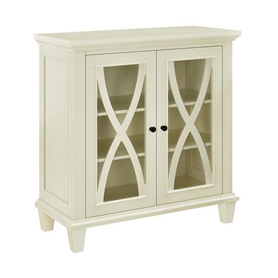 Ellington Wooden Display Cabinet In Ivory With 2 Doors_4