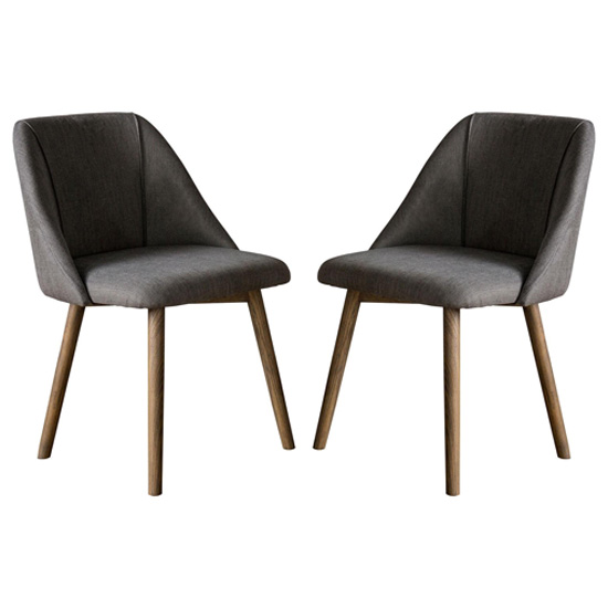 Elliot Slate Grey Fabric Dining Chairs In Pair