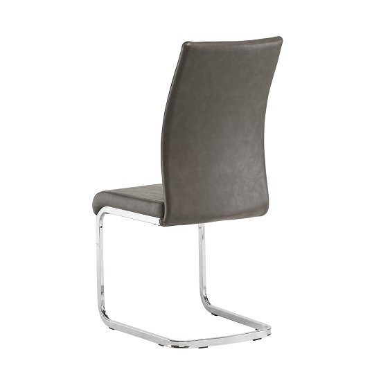 Ellis Dining Chair In Grey Faux Leather With Chrome Legs_2