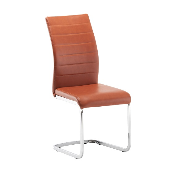 Ellis Dining Chair In Orange Faux Leather With Chrome Legs