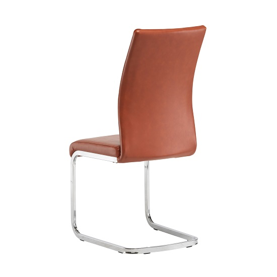 Ellis Dining Chair In Orange Faux Leather With Chrome Legs_2