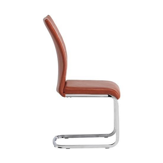 Ellis Dining Chair In Orange Faux Leather With Chrome Legs_3