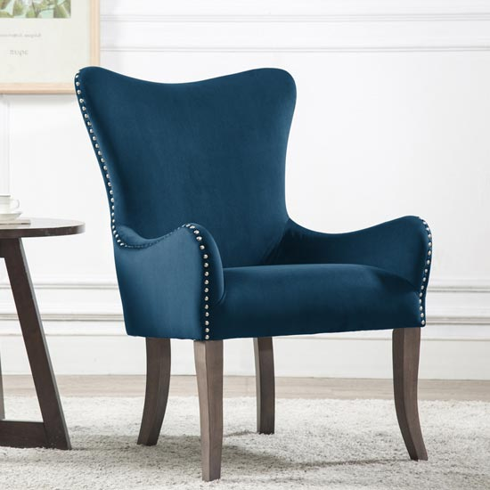 Ellis Fabric Bedroom Chair In Midnight Blue