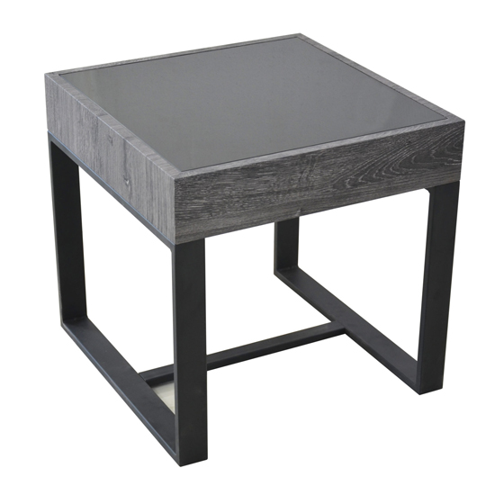 Ellis Glass End Table With Natural Black Legs