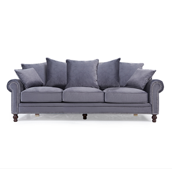 Ellopine Plush Fabric Upholstered 3 Seater Sofa In Grey_2