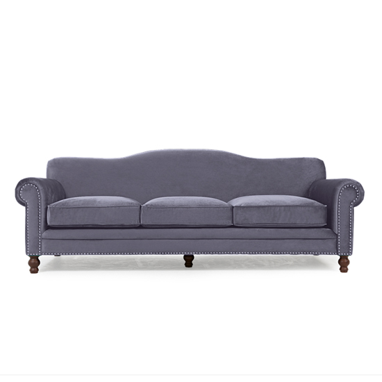 Ellopine Plush Fabric Upholstered 3 Seater Sofa In Grey_3