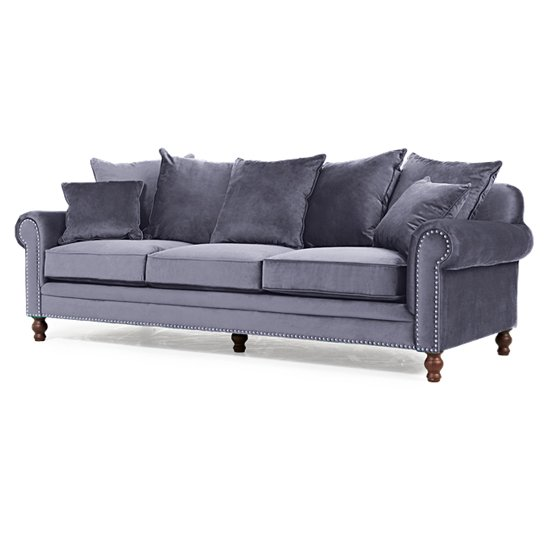 Ellopine Plush Fabric Upholstered 3 Seater Sofa In Grey_4
