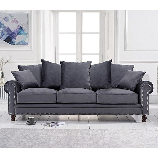 Ellopine Plush Fabric Upholstered 3 Seater Sofa In Grey