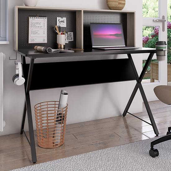 View Ellora wooden computer desk in black with grey oak hutch