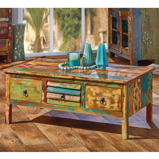 Ellora Wooden Coffee Table In Multicolor With 3 Drawers