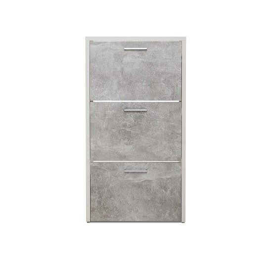 Ellwood Shoe Cabinet In White And Concrete Structured_3