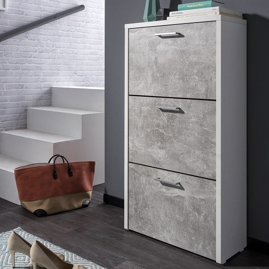Ellwood Shoe Cabinet In White And Concrete Structured_1
