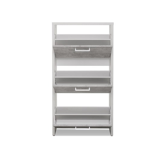 Ellwood Shoe Cabinet In White And Concrete Structured_2