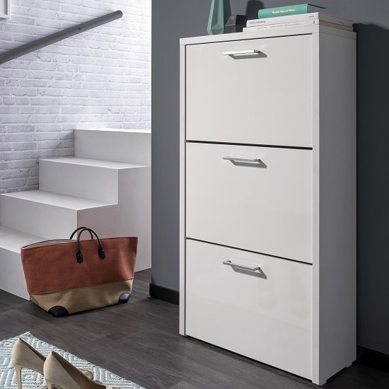 Ellwood Shoe Storage Cabinet In White With 3 Flap Doors