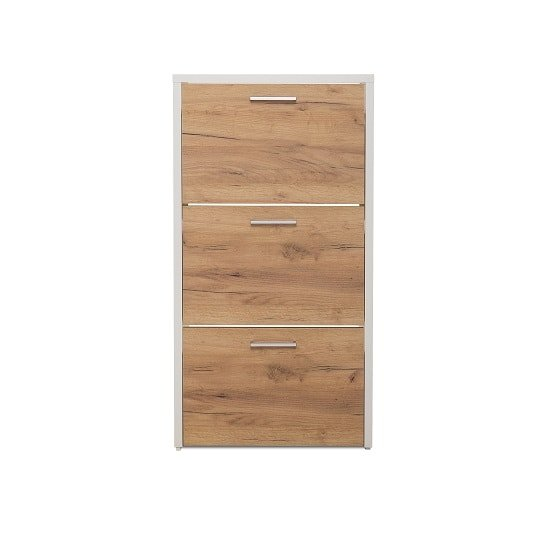 Ellwood Shoe Cabinet In White And Golden Oak With 3 Flap Doors_3