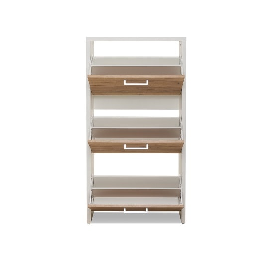 Ellwood Shoe Cabinet In White And Golden Oak With 3 Flap Doors_2