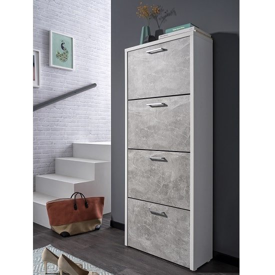 Genial Ellwood Shoe Cabinet Tall In White And Concrete Structured_1