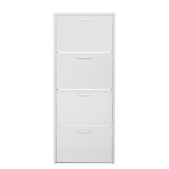Ellwood Shoe Storage Cabinet In White With 4 Flap Doors_3