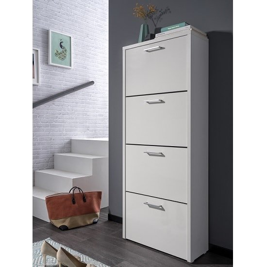 Ellwood Shoe Storage Cabinet In White With 4 Flap Doors
