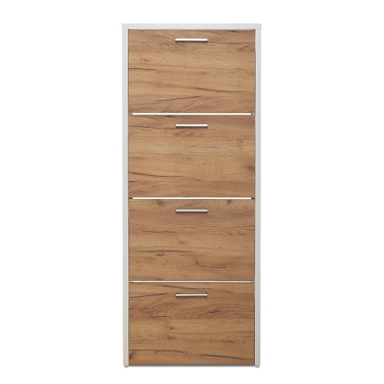 Ellwood Shoe Cabinet In White And Golden Oak With 4 Flap Doors_3