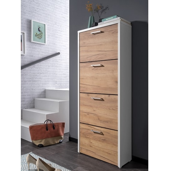 Ellwood Shoe Cabinet In White And Golden Oak With 4 Flap Doors_1