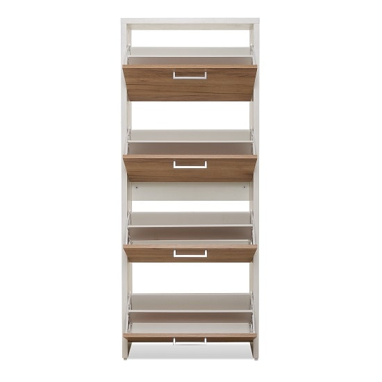 Ellwood Shoe Cabinet In White And Golden Oak With 4 Flap Doors_2