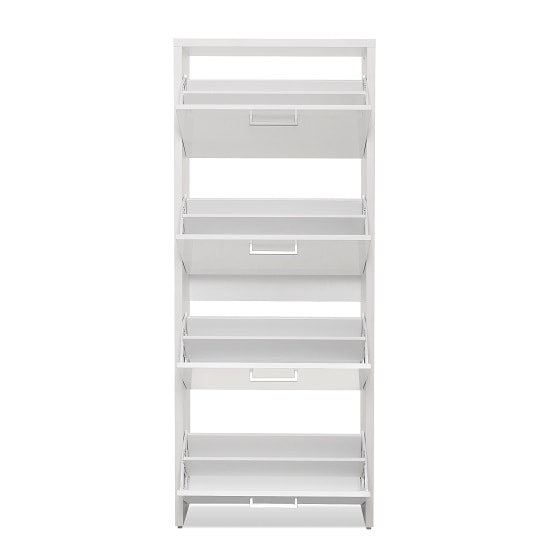 Ellwood Shoe Storage Cabinet In White With 4 Flap Doors_2