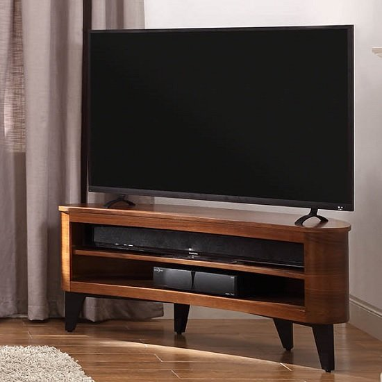 View Elmon wooden corner tv stand in walnut with black legs