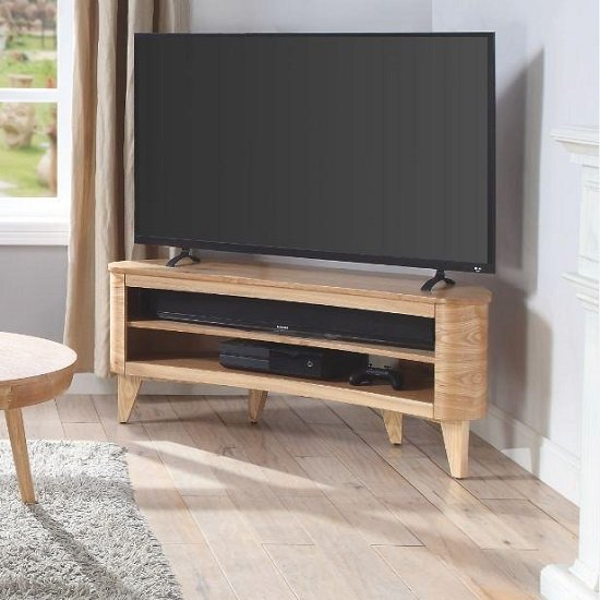 View Elmon wooden corner tv stand in ashwood finish