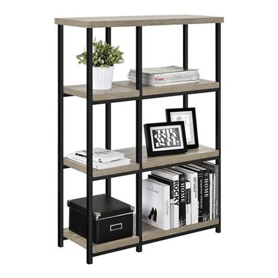 Elmwood Wooden Bookcase In Distressed Grey Oak_2