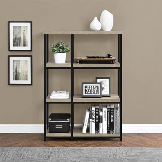 Elmwood Wooden Bookcase In Distressed Grey Oak_1