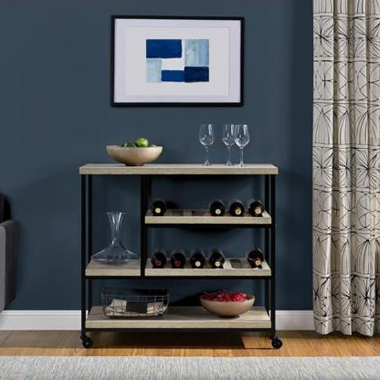 Elmwood Wooden Drinks Trolley In Distressed Grey Oak