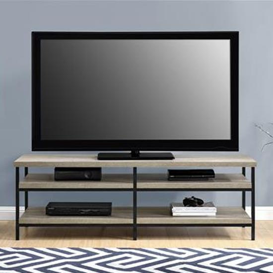 Elmwood Wooden TV Stand In Distressed Grey Oak