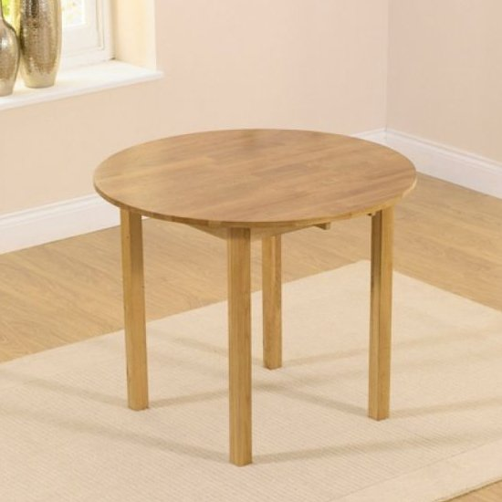 Elnath Round Wooden Drop Leaf Dining Table In Oak