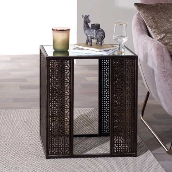 Elora Mirrored Side Table In Two Tone With Brown And Gold Finish
