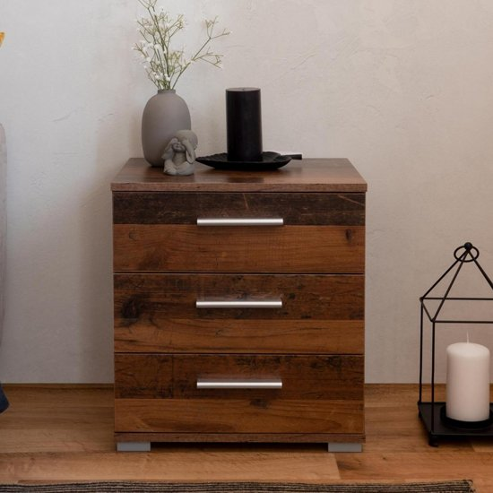 Elora Wooden Bedside Cabinet In Old Style