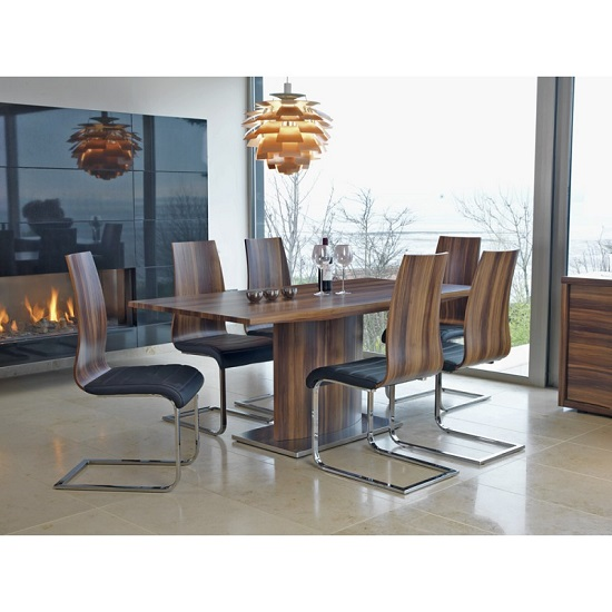 Elora Wooden Dining Table Rectangular In Walnut With 6 Chairs