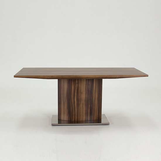 Elora Wooden Dining Table Rectangular In Walnut With Chrome Base