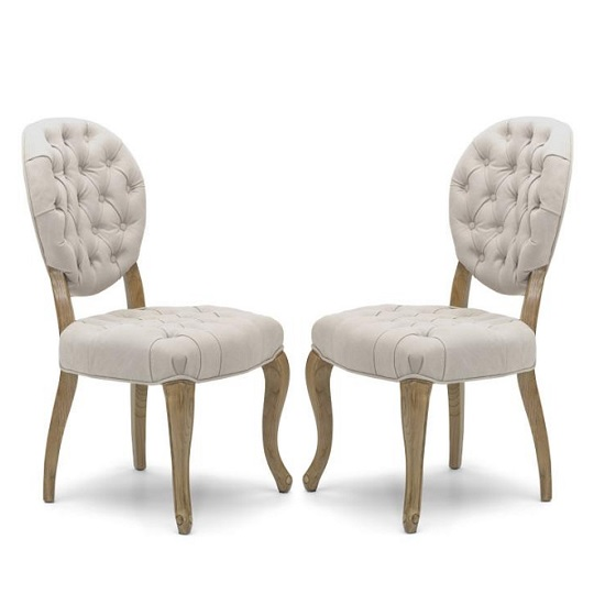 Elsa Fabric Dining Chair In Natural With Walnut Legs In A Pair