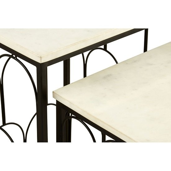 Elsner White Marble Nest Of Tables With Black Metal Base_5