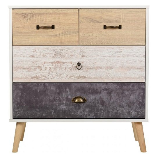 Elston Wide Chest Of Drawers In White And Distressed Effect_3