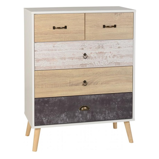 Elston Tall Chest Of Drawers In White And Distressed Effect_1