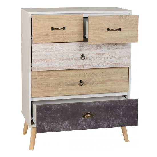 Elston Tall Chest Of Drawers In White And Distressed Effect_2