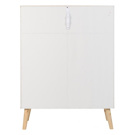 Elston Tall Chest Of Drawers In White And Distressed Effect_4