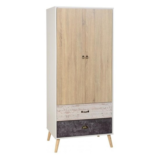 Elston Wardrobe In White And Distressed Effect With Two Doors_1