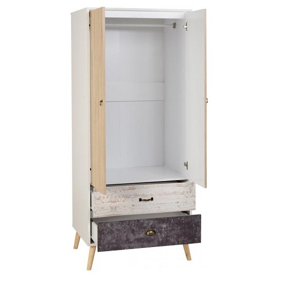 Elston Wardrobe In White And Distressed Effect With Two Doors_2